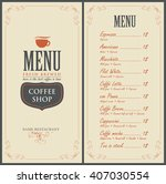 menu for the cafe with a cup of ... | Shutterstock .eps vector #407030554
