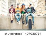 group of teenagers making... | Shutterstock . vector #407030794