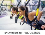 women training arms with trx... | Shutterstock . vector #407032501