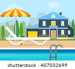 lounge with umbrella near the... | Shutterstock .eps vector #407032699