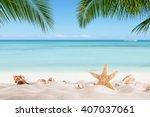 summer sandy beach with blur... | Shutterstock . vector #407037061