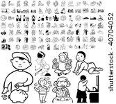 family set of black sketch.... | Shutterstock .eps vector #40704052