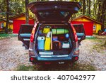 travel car and camping luggage... | Shutterstock . vector #407042977