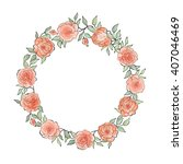 floral frame set. flower rose... | Shutterstock .eps vector #407046469