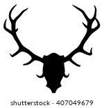 Vector Silhouette Of Deer Or...