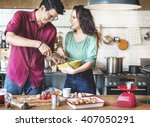 couple cooking hobby lifestyle... | Shutterstock . vector #407050291