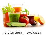glasses with fresh organic... | Shutterstock . vector #407053114