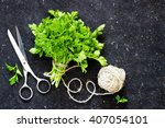 green parsley on dark ... | Shutterstock . vector #407054101
