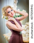 beautiful  young  blonde woman... | Shutterstock . vector #407054941