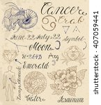 collection of hand drawn... | Shutterstock .eps vector #407059441