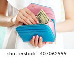 young woman getting dollars... | Shutterstock . vector #407062999