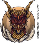 Gold Red Dragon  Detailed Stud...
