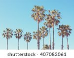palm trees at santa monica... | Shutterstock . vector #407082061