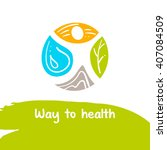 the road to health. vector logo.... | Shutterstock .eps vector #407084509