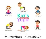 yoga kids poses vector cartoon... | Shutterstock .eps vector #407085877
