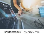 designer hand working with... | Shutterstock . vector #407092741