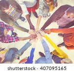 diverse and casual people and... | Shutterstock . vector #407095165