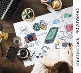 social media networking data... | Shutterstock . vector #407098465
