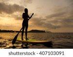 silhouette of a beautiful woman ... | Shutterstock . vector #407103091