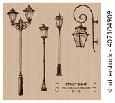 Street Lights. Hand Drawn...