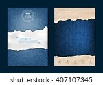 ripped paper on texture of... | Shutterstock .eps vector #407107345