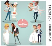 wedding cartoon set  brides and ... | Shutterstock .eps vector #407107861