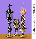 havdalah set.silver kiddush... | Shutterstock .eps vector #407109349