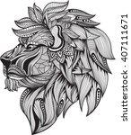 zentangle stylized.lion head  ... | Shutterstock .eps vector #407111671