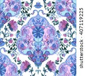 watercolor paisley seamless... | Shutterstock .eps vector #407119225