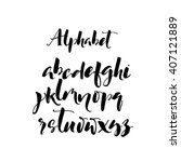 set of hand drawn brush letters.... | Shutterstock .eps vector #407121889