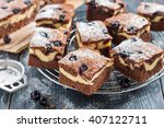 pieces of chocolate cheesecake...   Shutterstock . vector #407122711