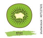 Fresh Green Kiwi Fruit In Flat...