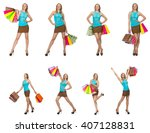 woman with shopping bags... | Shutterstock . vector #407128831