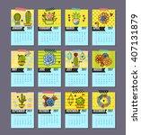 calendar for 2017 of cacti ... | Shutterstock .eps vector #407131879