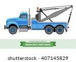 classic heavy duty tow truck... | Shutterstock .eps vector #407145829