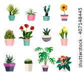set of green house plants in... | Shutterstock .eps vector #407148445