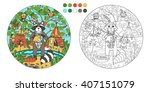 coloring book with a contour... | Shutterstock .eps vector #407151079