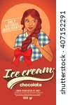 girl in '50s style with ice...   Shutterstock .eps vector #407152291