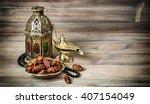 arabian lantern  golden lamp... | Shutterstock . vector #407154049