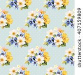 seamless pattern with blue... | Shutterstock .eps vector #407159809