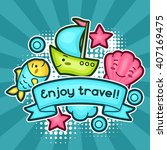 cute travel background with... | Shutterstock .eps vector #407169475