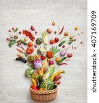 healthy food background. studio ... | Shutterstock . vector #407169709