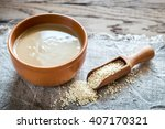 bowl of tahini with sesame seeds   Shutterstock . vector #407170321