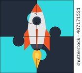 rocket puzzle startup success... | Shutterstock .eps vector #407171521