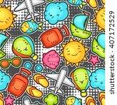 seamless travel kawaii pattern... | Shutterstock .eps vector #407172529