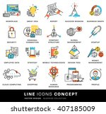 thin line icons set. business... | Shutterstock .eps vector #407185009