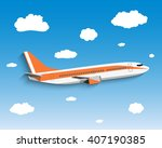 flight of the plane in the sky. ... | Shutterstock .eps vector #407190385