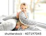 little baby boy with pillows... | Shutterstock . vector #407197045