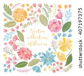 vector colorful floral hand... | Shutterstock .eps vector #407197375