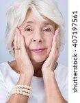 senior elegant woman with... | Shutterstock . vector #407197561